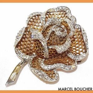 Marcel Boucher Rose Flower Rhinestone Brooch Pin